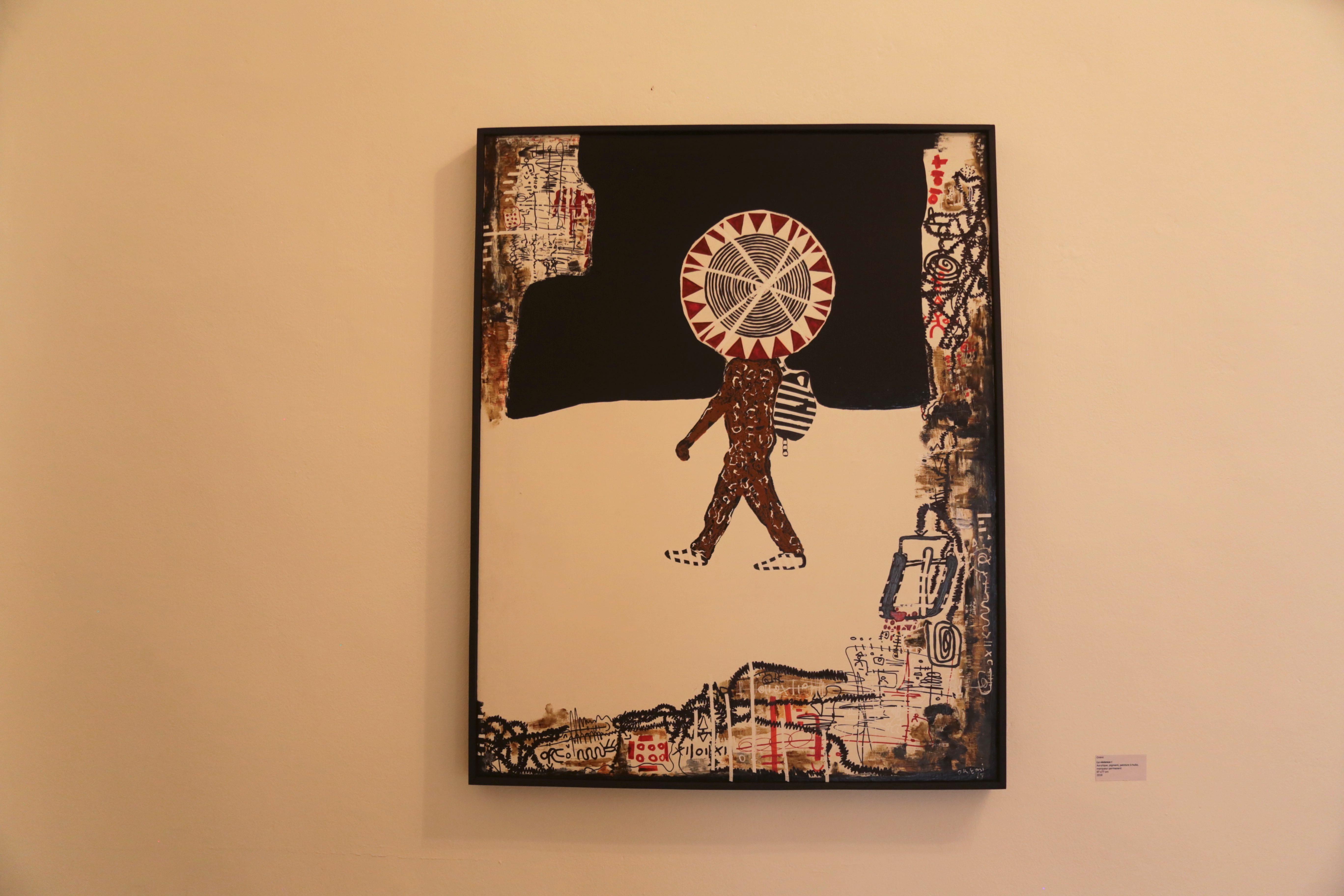 Orémi, La violence I, Acrylique, pigment, peinture à huile, marqueur permanent 97 x77 cm, 2019