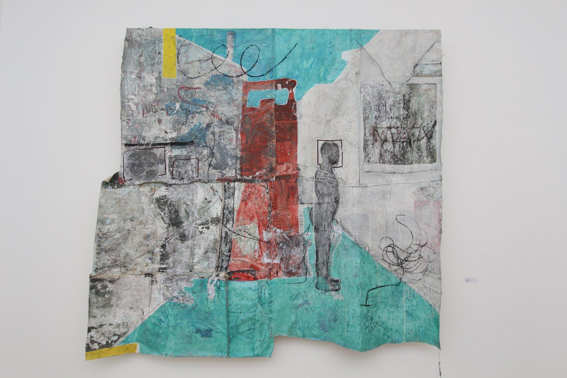 Kaloki Nyamaï, Novala Nae, Technique mixte 213 x 216 cm, 2019.